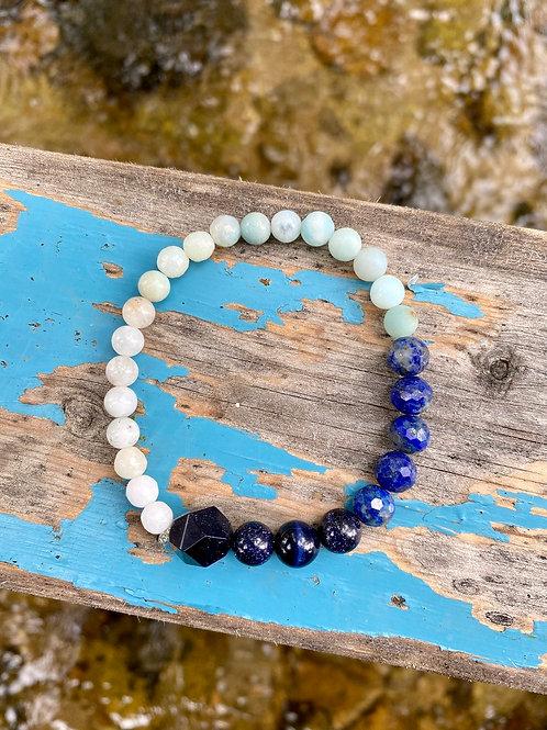 blue goldstone, lapis lazuli, amazonite, howlite