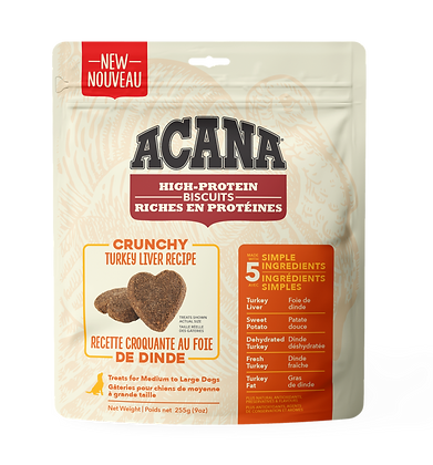 Acana High-Protein Biscuits Crunchy Turkey Liver Recipe 9oz
