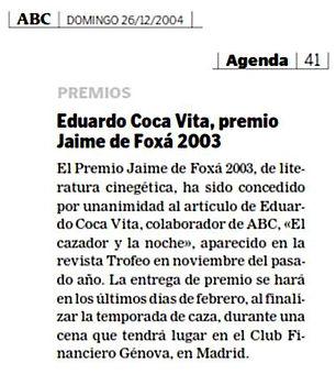 Recorte de prensa premio Jaime de Foxá 2003