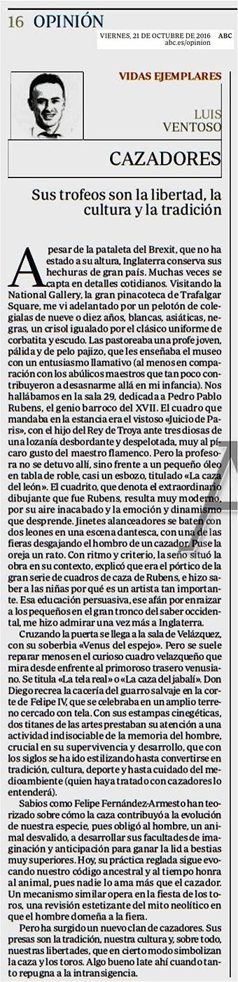 Colmillos en la memoria Arturo Pérez-Reverte, Artículo XLSemanal