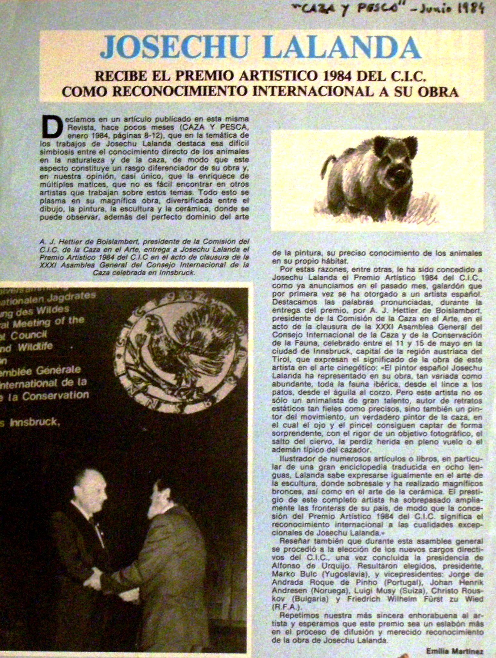 Nota premio CIC 1984 Josechu Lalanda