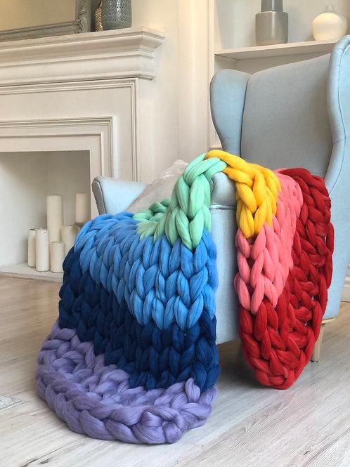 Rainbow Chunky Knit Blanket