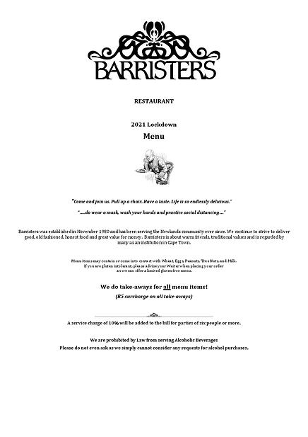 Barristers Dinner Menu January 2021 Lock
