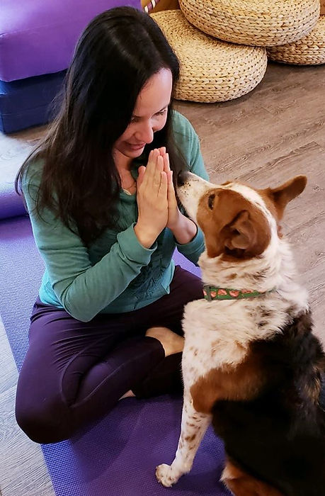 Nicole Vykoukal, founder of Austin Doga seated with her dog on a yoga mat