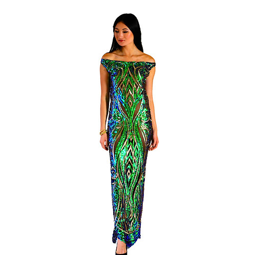 Peacock Sequin Gown