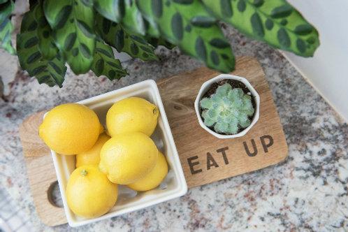 """Eat Up"" Mango Wood Cutting Board"