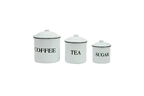 "Enameled Containers ""Coffee"", ""Tea"" & ""Sugar"""