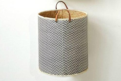 Large Palm Leaf Laundry Basket w/ Leather Handles
