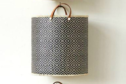 Medium Palm Leaf Laundry Basket w/ Leather Handles
