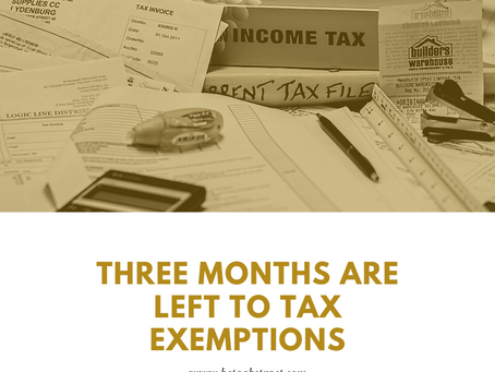 Three Months are Left to Tax Exemptions