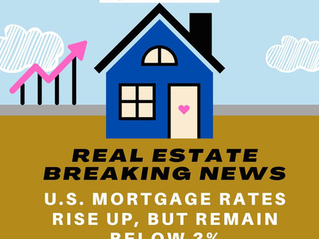 Real Estate Breaking News: U.S. Mortgage Rates Rise Up, But Remain Below 3%