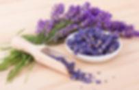 Porcelain bowl with dried  lavender flow