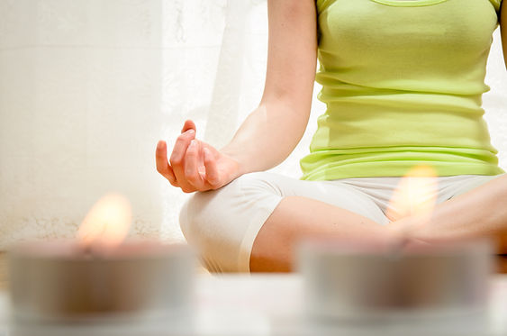 Yoga meditation at home. Relax concept w