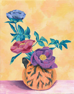 虎と生け花1