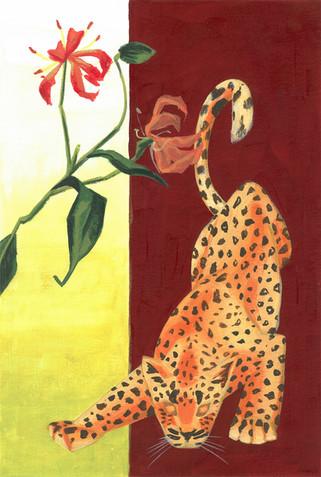 ヒョウと彼岸花 Leopard and Spider Lily