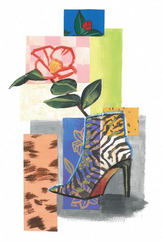 ゼブラと椿 Zebra and Camellia