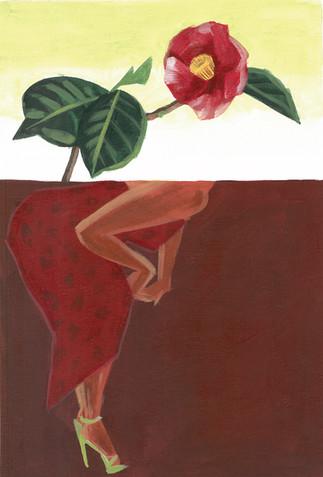 ドレスと椿 Red dress and Camellia