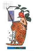 ヒョウの花器と椿 Leopard Flower Vase and Camellia