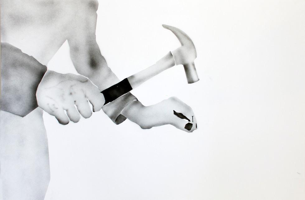 Yoav Weinfeld, Hammer, Ink on paper, 105