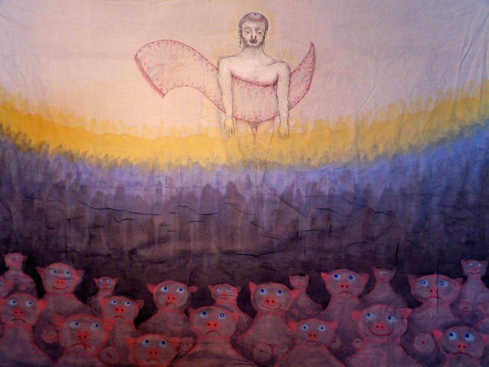 היהודי הנודד מרחף מעל אנשי החזיר כחולי ה