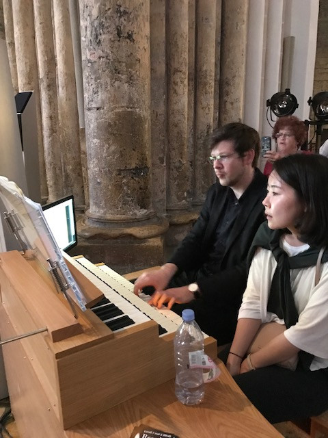 Organist, Thomas Kientz and Organ Assistant Christine Liu