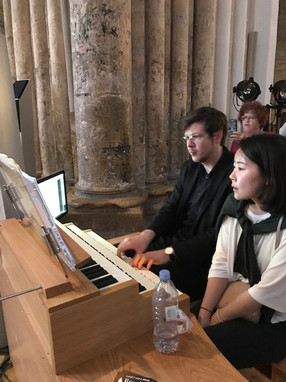 Organist, Thomas Kientz and Organ Assistant Christine Liu