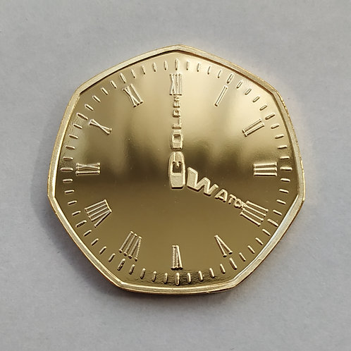 Golden Watch 'Happy Retirement' Gold Plated 50p Shaped Coin