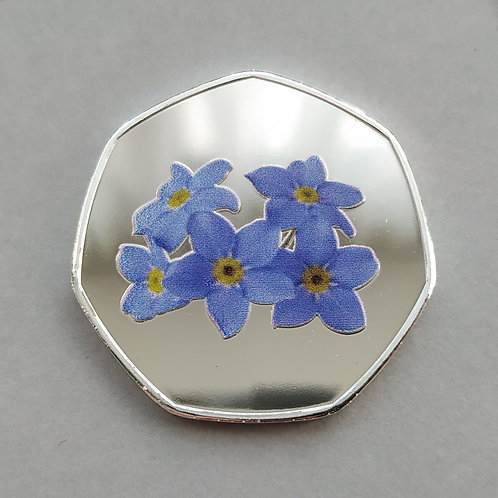 'Forget me Not' Flower Bunch Silver Plated 50p Shaped Coin