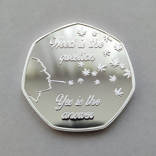 'Freedom' Cannabis Leaf Silver Plated 50p Shaped Coin