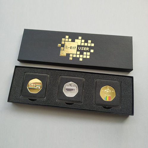 '8-Bit User' DELUXE Gold & Silver Plated 'TRIPLE Coin' Collectors Set ( #2 )