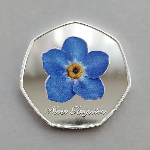 'Never Forgotten' Forget Me Not Silver Plated 50p Shaped Coin