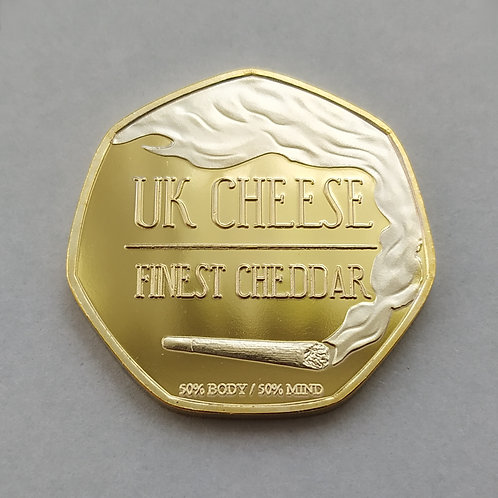 'UK Cheese' Cannabis Leaf Gold Plated 50p Shaped Coin