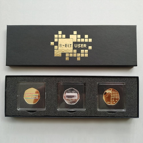 '8-Bit User' DELUXE Gold & Silver Plated 'TRIPLE Coin' Collectors Set ( #1 )