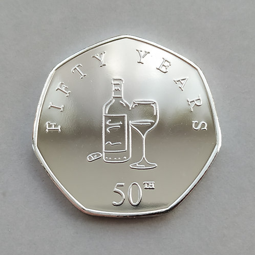 Happy 50th Birthday ( Wine ) Silver Plated 50p Shaped Coin