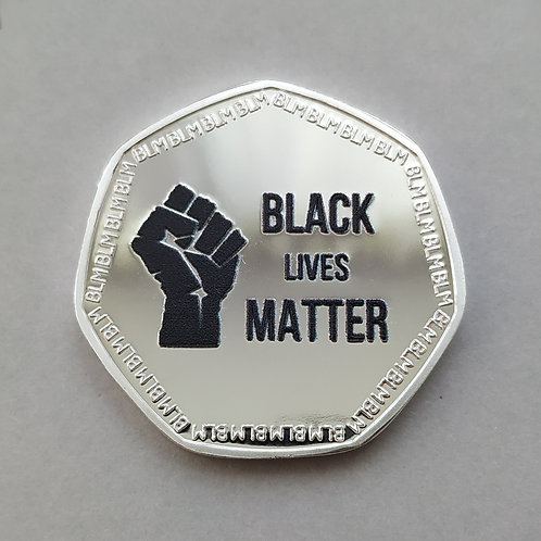 Black Lives Matter / BLM Silver Plated 50p Shaped Coin