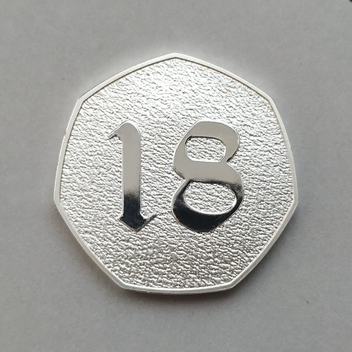 Happy 18th Birthday Silver Plated 50p Shaped Coin