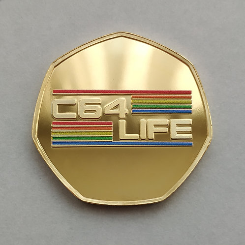 '8-Bit User' Commodore 64 / C64 LIFE Gold Plated 50p Shaped Coin