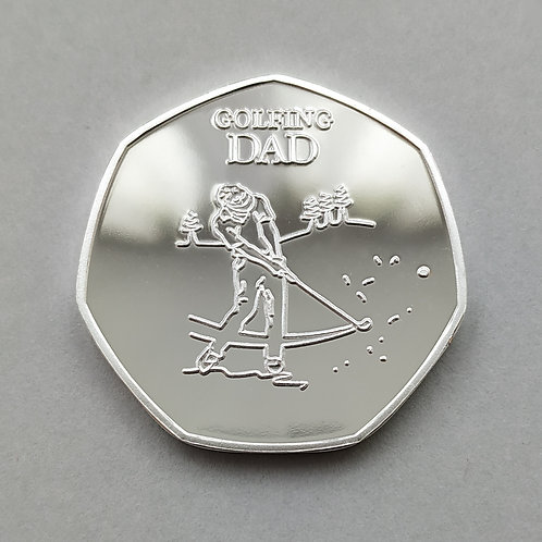 'Golfing Dad' Silver Plated 50p Shaped Coin