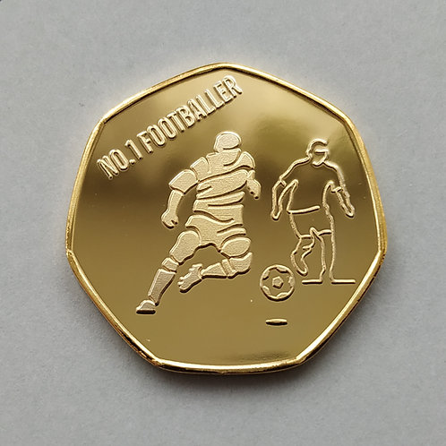 No.1 Footballer Gold Plated 50p Shaped Coin