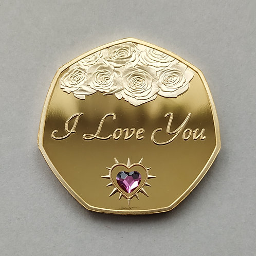 """""""I Love You"""" Gold Plated Commemorative Coin + Pink Heart Crystal"""