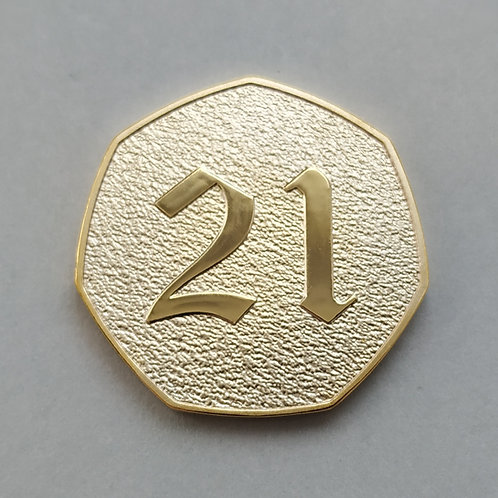 Happy 21st Birthday Gold Plated 50p Shaped Coin