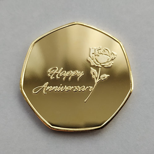 'Happy Anniversary' Gold Plated 50p Shaped Coin