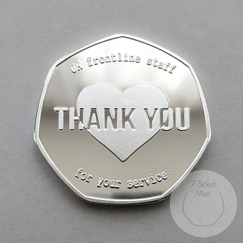 """Thank You UK Frontline Staff"" / NHS Key Workers Silver Plated 50p Shaped Coin"
