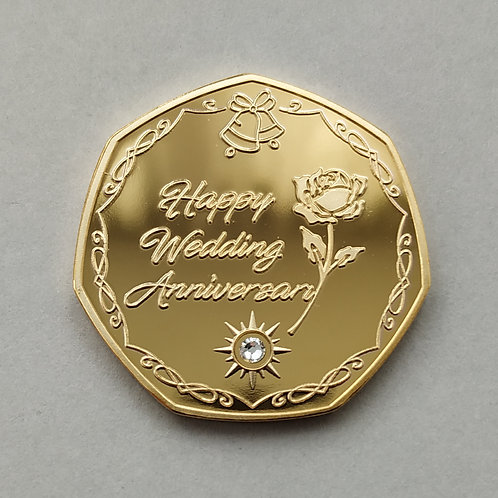 '60th Diamond Wedding Anniversary' Gold Plated Coin + Crystal