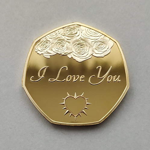 """I Love You"" Gold Plated Commemorative Coin"