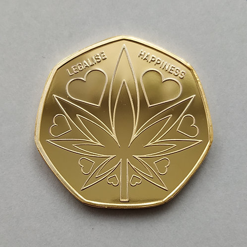 'Legalise Happiness' Cannabis Leaf Gold Plated 50p Shaped Coin