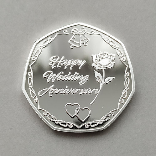 Happy Wedding Anniversary - Silver Plated Commemorative Coin
