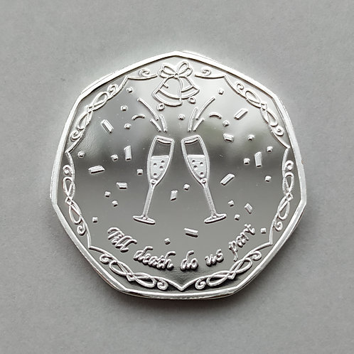 'Thank You' / Wedding Favour Silver Plated 50p Shaped Coin