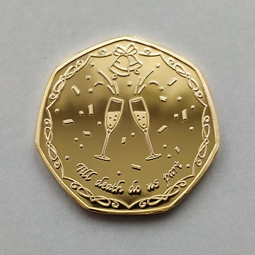 'Congratulations' / Wedding Gift Gold Plated 50p Shaped Coin