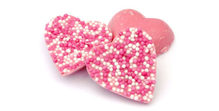 Chocolate Jazzy Pink Hearts